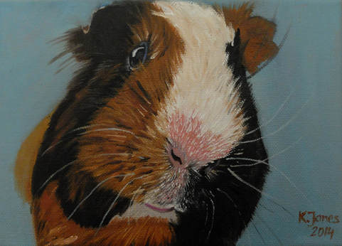 Guinea pig portrait. Oil painting by Kasia Jones  www.kasiajones.com