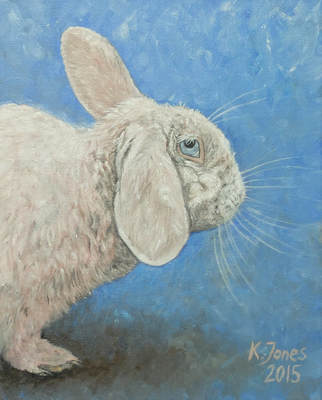 Bunny rabbit portrait. Oil painting by Kasia Jones  www.kasiajones.com